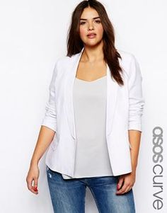 orange blazer color blocking plus size outfit | My Style ...