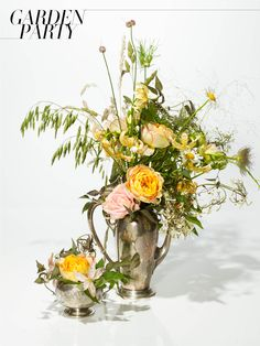 Something borrowed: Use your family's silver vases and display your flowers in original vintage heirlooms.(Flowers: wild grasses, star clematis, garden roses, lilies and wild daisies)