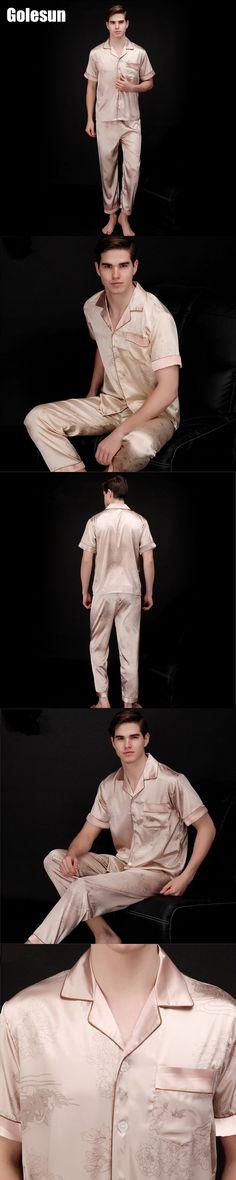 New Arrival Autumn Men Casual Breathable Faux silk tops and Pants sets lounge Homewear Sleepwear Set Men's Pajama sets TZ037