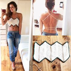 """Easy to make longer *top inspo' """" If I am not busy with yarn, I am trying to enjoy my life by traveling the world and spend time in our beautiful nature. Crochet Halter Tops, Crochet Bikini Top, Débardeurs Au Crochet, Crochet Designs, Crochet Patterns, Crochet Fashion, Long Tops, Dandy, Crochet Clothes"""
