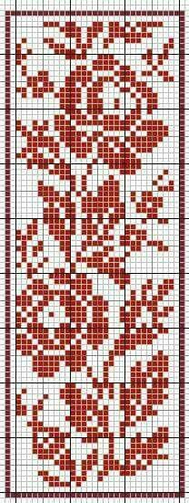 This technically is a knitting pattern, but it doubles as a cross stitch. Cross Stitch Bookmarks, Cross Stitch Rose, Cross Stitch Borders, Cross Stitch Flowers, Cross Stitch Charts, Cross Stitching, Cross Stitch Embroidery, Cross Stitch Patterns, Filet Crochet