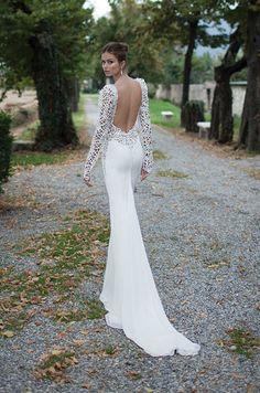 Breathtaking backless wedding dress with long sleeves. Berta, Winter 2014