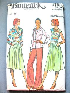 Uncut 70s Butterick 4705 Vintage Sewing Pattern  Rena by Fancywork