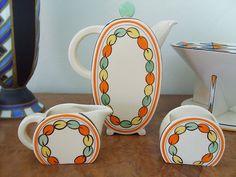 Stunning Handpainted Deco Clarice Cliff Bonjour Coffee Pot Milk Jug Sugar Bowl