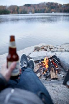 campfire and a beer - perfect!  I miss my cousin & my partner in crime ;(