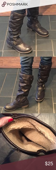 """Madaline below the knee brown boots with lining. Madaline below the knee brown boots with lining. 1"""" heel with brushed gold buckles. Size 7.5 medium, very comfortable, barley worn. madaline Shoes Combat & Moto Boots"""