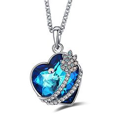 Caperci Swarovski Elements Crystal Heart Pendant Necklace with I Love You To The Moon and Back -- Details can be found by clicking on the image.