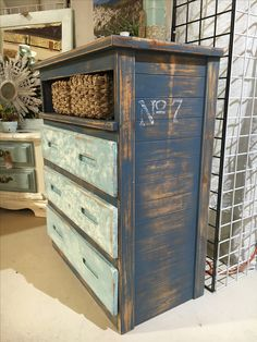 A simple pine dresser restyled with chalk paint and salt wash.