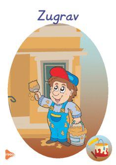 Ilustrații cu meserii și ocupații Experiment, Teaching Weather, Bible Study For Kids, Preschool Education, Teaching Materials, Smurfs, Family Guy, Cards, Fictional Characters