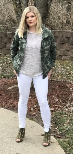 Keep it neutral. Make the camo jacket pop by wearing white jeans. Instead of a basic white tee I wore this fringe tee as a play on texture. For shoes, I wore my army green lace up booties.  #ShopStyle #shopthelook #SpringStyle #SummerStyle #WeekendLook #DateNight #OOTD