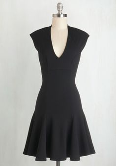 Tonight's dazzling gathering calls for stunning attire, and you can never go wrong with this LBD dress. Cap sleeves and a deep V-neck grace the top of this knit frock, while its flared hem twirls as you dance the night away!