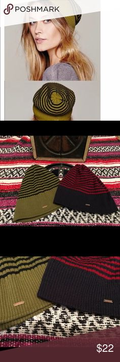 Two Free People knit beanie hats EUC Two FP knit beanie hats red/blue & black/ green EUC Free People Accessories Hats