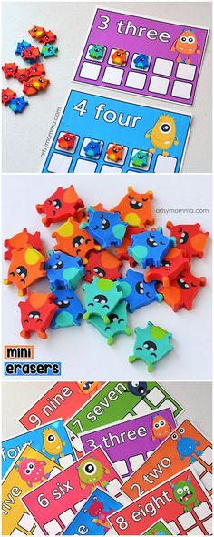 Printable Mini Eraser Monster Counting Cards for Preschoolers