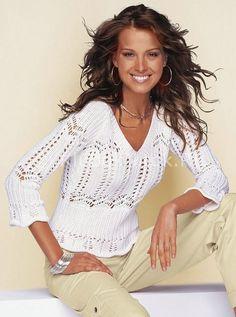 Белый пуловер с зигзагами   Вязание для женщин   Вязание спицами и крючком. Схемы вязания.