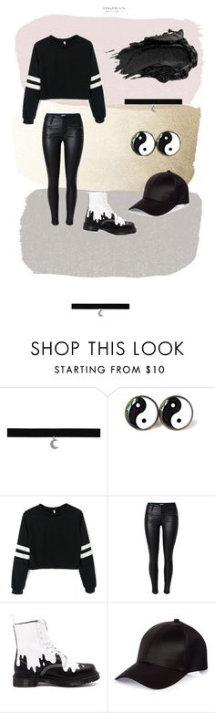 """""""Black"""" by izzy-wentz-urie on Polyvore featuring Dr. Martens, River Island and Urban Decay"""