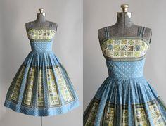 Vintage 1950s Dress / 50s Cotton Dress / Blue Novelty Print Dress w/ Spaghetti Straps XS Retro Outfits, Cool Outfits, Vintage Outfits, Vintage 1950s Dresses, Retro Dress, 1950s Fashion, Vintage Fashion, Vintage Style, Day Dresses