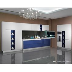 Blue and white Lacquer Kitchen Cabinet    Model: OP13-294