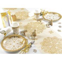 Assiette carton orientale or blanc 23 cm les 10, mariage, wedding, art de table, Assiette carton pas chère, orient, 1001 nuits, déco chic, vaisselle jetable