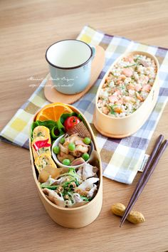 Bento box featuring white & brown rice with grilled salmon, komatsuna & cheese tamagoyaki, potato & bacon noodles, miso pork, and veggies & fruit Japanese Lunch, Japanese Food, Bento Box Lunch For Adults, Lunch Box, Bento Box Traditional, Bento Recipes, Bento Ideas, Lunch Ideas, Food Ideas