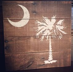 Palmetto moon / SC State logo sign by OLIVEnGREY on Etsy Palmetto Tree, Palmetto Moon, Logo Sign, South Carolina, Symbols, Wreaths, Signs, Pallet Art, Home Decor