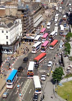 scattered buses on Princes Street