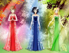 Triplet princesses Catherine, Camille, and Caroline by Drachea Rannak