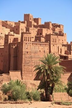 Aït Benhaddou is a fortified city, or ksar, along the former caravan route between the Sahara and Marrakech in present-day Morocco.  Many well-known movies have been filmed here.