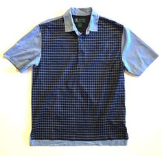 St Andrews Links Brooks Brothers Golf Polo Shirt Blue Check Chambray Medium #BrooksBrothers #PoloRugby