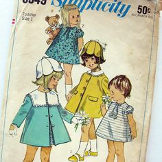 1960s Vintage Sewing Pattern Childs' Dress Coat by SelvedgeShop