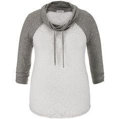 maurices Plus Size - Cowl Neck Lace Baseball Tee ($7.50) ❤ liked on Polyvore featuring grey, plus size, maurices, baseball t shirt, baseball tshirt, baseball tee shirts and baseball style t shirts