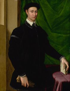 Jacopino del Conte PORTRAIT OF A GENTLEMAN, THREE-QUARTER LENGTH, STANDING AND HOLDING A PAIR OF GLOVES IN HIS RIGHT HAND, HIS LEFT HAND RESTING ON A BOOK, BEFORE A GREEN CURTAIN