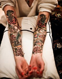 American Traditional Tattoo Sleeve, Old School Tattoo Arm