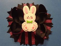 "6"" Handmade Happy Easter Boutique Stacked Hair Bow -Infant / Girls #Handmade"