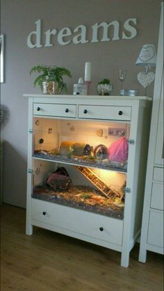 Turn a dresser Into animal cages - awesome idea                                                                                                                                                                                 More