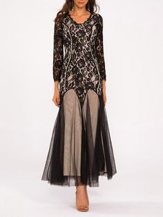 #AdoreWe #StyleWe Designer Maxi Dresses - Designer She's Black Guipure Lace  Long Sleeve Mermaid