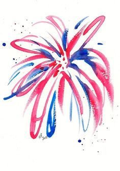 Firework original watercolor painting 4x6 by karenfaulknerart, $20.00