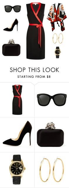 """Great outfit"" by edith-a-giles ❤ liked on Polyvore featuring Diane Von Furstenberg, Linda Farrow, Jimmy Choo, Rolex and Michaele Vollbracht"