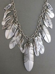 Sterling Silver Feather Necklace - Native American Silver Feather Jewelry - Sterling Silver Feather Necklace - Native American Silver Feather Jewelry