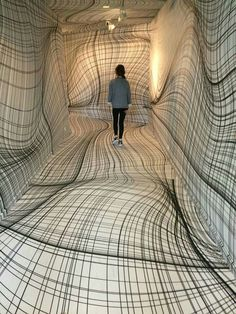 "Peter Kogler ""Next"", ING Art Center, Brussel. Installation art that engages the audience and uses line to create implied space Street Art, Instalation Art, Art Plastique, Op Art, Optical Illusions, Optical Illusion Art, Oeuvre D'art, Contemporary Art, Funny Pictures"