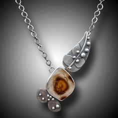 Montana Agate Collier en argent Sterling Pendentif Agate
