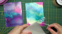 3 minute tip adding gold leaf to (alcohol ink) backgrounds with a lami...