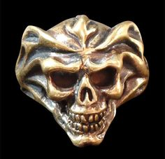 Bronze Del Fuego Fire Skull Biker Ring - Custom Size - Free Shipping #Handmade #Statement