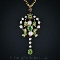 Antique Russian Demantoid garnet and pearl Necklace circa 1880.
