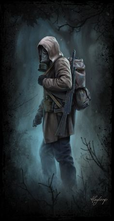 Stalker walk in darknes Post Apocalypse, Apocalypse Aesthetic, Post Apocalyptic City, Apocalyptic Clothing, Image Triste, Apocalypse Character, Gas Mask Art, Fallout, Mad Max