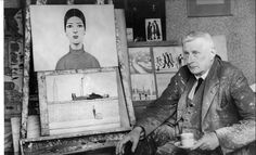 LS Lowry sitting next to easel
