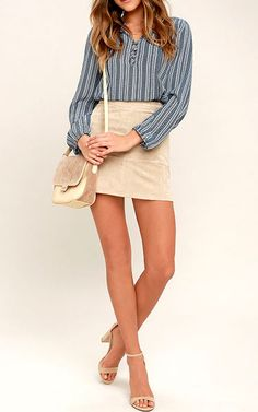 Sandy Shore Navy Blue Print Long Sleeve Top via @bestchicfashion
