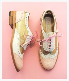 ABO+ Ana Ljubinkovic pink and gold brogues #abo #abo+analjubinkovic #shoes #brogues #oxfords #pastels #gold