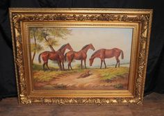 Photo of English Oil Painting Horse Pastoral Landscape Victorian