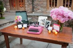 love this idea for a wedding and instead of signing a book-- type a message to the bride and groom
