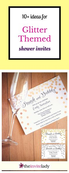 10+ ideas for pretty Bridal Shower Invitations with Glitter. The bride-to-be will love options from pink, gold and glitter - featuring metallic gold. Via theinvitelady.com #bridalshower